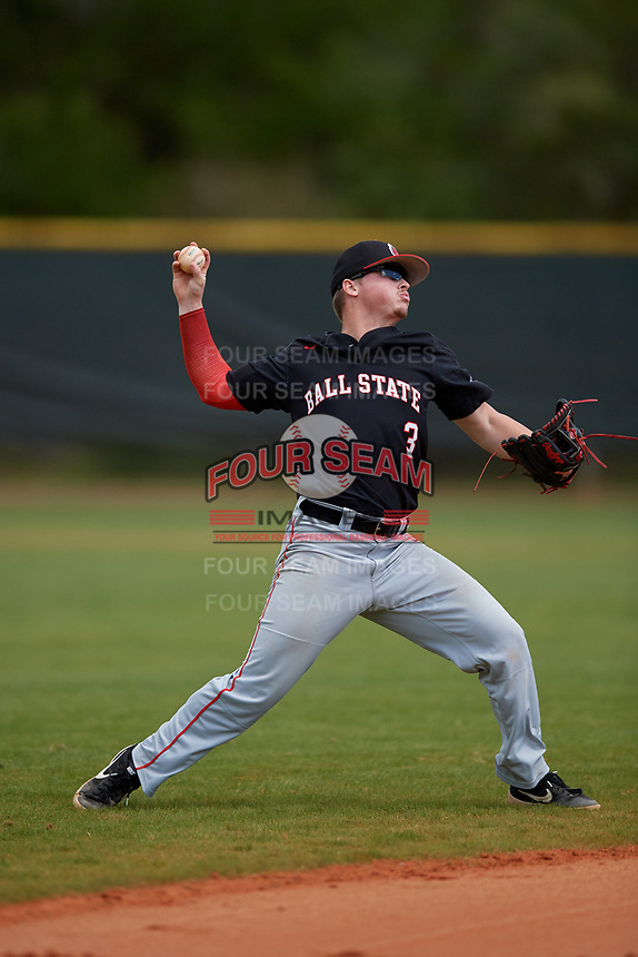 Ball State Cardinals shortstop Noah Powell (3) throws to first base during a game against the Saint Joseph's Hawks on March 9, 2019 at North Charlotte Regional Park in Port Charlotte, Florida.  Ball State defeated Saint Joseph's 7-5.  (Mike Janes/Four Seam Images)