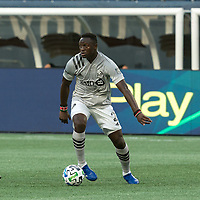 FOXBOROUGH, MA - SEPTEMBER 23: Victor Wanyama #2 of Montreal Impact passes the ball during a game between Montreal Impact and New England Revolution at Gillette Stadium on September 23, 2020 in Foxborough, Massachusetts.