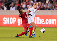 HOUSTON, TX - JANUARY 31: Marta Cox #11 of Panama defends Lindsey Horan #9 of the United States during a game between Panama and USWNT at BBVA Stadium on January 31, 2020 in Houston, Texas.