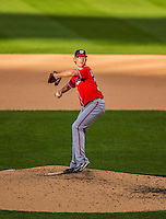 20 April 2013: Washington Nationals pitcher Tyler Clippard on the mound in relief against the New York Mets at Citi Field in Flushing, NY. Clippard was credited with the win as the Nationals rallied to defeat the Mets 7-6 and tie their 3-game series at one a piece. Mandatory Credit: Ed Wolfstein Photo *** RAW (NEF) Image File Available ***