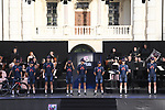 Ineos Grenadiers on stage at team presentation of the 2021 Giro d'Italia inside the Cortile d'Onore of the Castello del Valentino, on the occasion of the 160th anniversary of the Unification of Italy, Turin, Italy. 6th May 2021.  <br /> Picture: LaPresse/Fabio Ferrari | Cyclefile<br /> <br /> All photos usage must carry mandatory copyright credit (© Cyclefile | LaPresse/Fabio Ferrari)