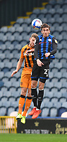 Hull City's Callum Elder battles with Rochdale's Matthew Lund<br /> <br /> Photographer Dave Howarth/CameraSport<br /> <br /> The EFL Sky Bet League One - Rochdale v Hull City - Saturday 17th October 2020 - Spotland Stadium - Rochdale<br /> <br /> World Copyright © 2020 CameraSport. All rights reserved. 43 Linden Ave. Countesthorpe. Leicester. England. LE8 5PG - Tel: +44 (0) 116 277 4147 - admin@camerasport.com - www.camerasport.com