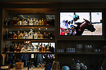 June 20, 2020: A television plays horse races before the Belmont Stakes at the watch party for Sole Volante, hosted by Patti Reeves, in Suwanee, Georgia. Gabriella Audi/Eclipse Sportswire/CSM