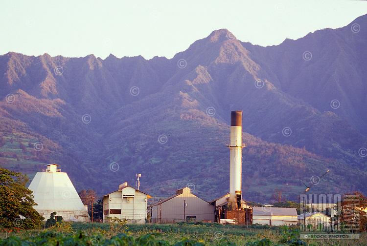 Waialua Sugar Mill with Mount Ka'ala in background
