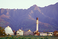 Waialua Sugar Mill with Mount Ka'ala in background