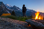 Camping in the wild before ascent of Le Parrain (3240 m), Valais, Switzerland, late May 2020.