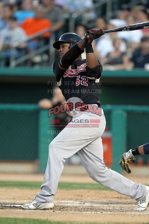 Michael Taylor #52 of the Sacramento RiverCats plays in a Pacific Coast League game against the Tucson Padres at Kino Stadium on June 24, 2011  in Tucson, Arizona. Bill Mitchell/Four Seam Images.