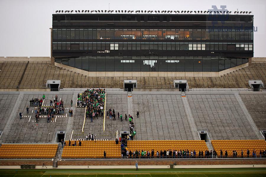Dec. 7, 2012; #1 film shoot in Notre Dame Stadium. Photo by Barbara Johnston/University of Notre Dame