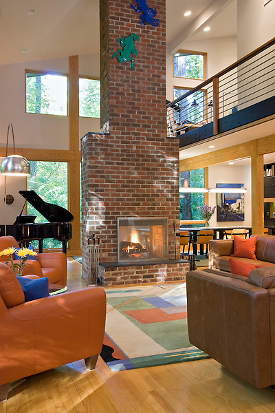 Vaulted Great Room with Double Sided Exposed brick Fireplace
