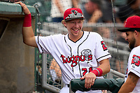 Lansing Lugnuts Brett Harris (24) during a weather delay before a game against the West Michigan Whitecaps on August 24, 2021 at Jackson Field in Lansing, Michigan.  (Mike Janes/Four Seam Images)