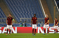 Calcio, Champions League, Gruppo E: Roma vs Bayer Leverkusen. Roma, stadio Olimpico, 4 novembre 2015.<br /> From left, Roma's Daniele De Rossi, Gervinho and Kostas Manolas react after Bayer Leverkusen scored the equalizer goal during a Champions League, Group E football match between Roma and Bayer Leverkusen, at Rome's Olympic stadium, 4 November 2015.<br /> UPDATE IMAGES PRESS/Riccardo De Luca