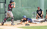 WATERBURY, CT 073021JS07 US9 Prospects' Tyler Giambra (48) slides past CT Gamecocks catcher Will Bartoli to score on a base hit from teammate Kyle Asanovic (9) during their Mickey Mantle World Series game Friday at Municipal Stadium in Waterbury. <br />  Jim Shannon Republican American