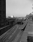Pittsburgh PA: View of Pittsburgh's Penn Station railroad yard and platform.
