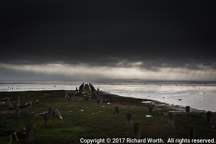 Pilings and an abanonded dock stretch into San Francisco Bay while ominous storm clouds fill the sky.