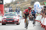 Race leader Red Jersey Primoz Roglic (SLO) Jumbo-Visma crosses the finish line in 2nd place ahead of Emric Mas (ESP) Movistar Team at the end of Stage 9 of La Vuelta d'Espana 2021, running 188km from Puerto Lumbreras to Alto de Velefique, Spain. 22nd August 2021.     <br /> Picture: Luis Angel Gomez/Photogomezsport   Cyclefile<br /> <br /> All photos usage must carry mandatory copyright credit (© Cyclefile   Luis Angel Gomez/Photogomezsport)
