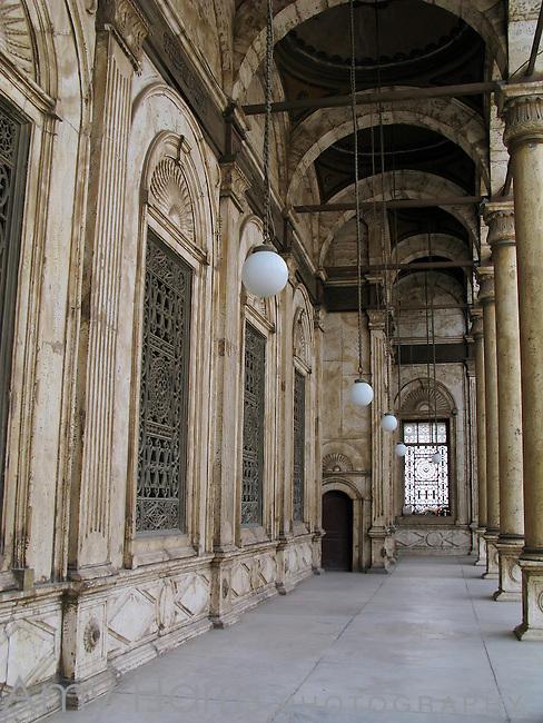 Corridor in courtyard of Mosque of Muhammad Ali in Cairo, Egypt.
