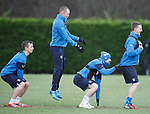 Kenny Miller gets the jump on Robbie Crawford, Fraser Aird and Tom Walsh