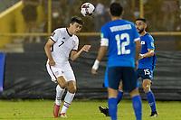 SAN SALVADOR, EL SALVADOR - SEPTEMBER 2: Gio Reyna #7 of the United States wins the header during a game between El Salvador and USMNT at Estadio Cuscatlán on September 2, 2021 in San Salvador, El Salvador.
