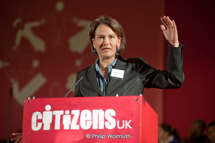 """Councillor Catherine West, Leader of Islington Council, addresses a """"Day for Civil Society"""" organized by Citizens UK / London Citizens to celebrate 10 years of the Living Wage Campaign, launch a National Living Wage Foundation and call for the living wage to be adopted nationally.  Central Hall, Westminster."""
