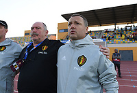 20200304  Parchal , Portugal : Belgian head coach Ives Serneels pictured with Belgian team manager Hubert De Neef  during the female football game between the national teams of New Zealand , known as the Football Ferns and Belgium called the Red Flames on the first matchday of the Algarve Cup 2020 , a prestigious friendly womensoccer tournament in Portugal , on wednesday 4 th March 2020 in Parchal , Portugal . PHOTO SPORTPIX.BE | DAVID CATRY