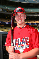 August 9 2008: Austin Maddox participates in the Aflac All American baseball game for incoming high school seniors at Dodger Stadium in Los Angeles,CA.  Photo by Larry Goren/Four Seam Images