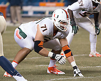 Miami defensive lineman Anthony Chickillo. The Miami Hurricanes defeated the Pitt Panthers 41-31 at Heinz Field, Pittsburgh, Pennsylvania on November 29, 2013.