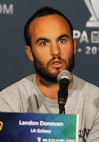 CARSON, CA - NOVEMBER 30, 2012:  Landon Donovan (10) of the Los Angeles Galaxy during a press conference at Home Depot Center, in Carson, CA, before the 2012 MLS Cup, on November 30, 2012.