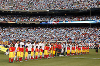 United States and Argentina players during pre-game introductions. The men's national teams of the United States and Argentina played to a 0-0 tie during an international friendly at Giants Stadium in East Rutherford, NJ, on June 8, 2008.