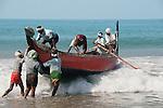 KOVALAM , fisherman , launching fishing boat,