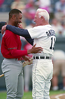 St. Louis Cardinals shortstop Ozzie Smith (1) and Detroit Tigers manager Sparky Anderson (11) during Spring Training 1993 at Joker Marchant Stadium in Lakeland, Florida.  (MJA/Four Seam Images)