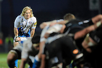 Tom Biggs of Bath Rugby looks on during the LV= Cup match between Exeter Chiefs and Bath Rugby at Sandy Park Stadium on Sunday 5th February 2012 (Photo by Rob Munro)
