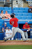 Fort Myers Miracle third baseman Joe Cronin (17) follows through on a swing during a game against the Dunedin Blue Jays on April 17, 2018 at Dunedin Stadium in Dunedin, Florida.  Dunedin defeated Fort Myers 5-2.  (Mike Janes/Four Seam Images)