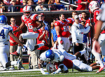 Southern Methodist Mustangs wide receiver JEREMY JOHNSON (15), Southern Methodist Mustangs wide receiver DARIUS JOHNSON (3) and Memphis Tigers linebacker TANK JAKES(13) in action during the game between the Memphis Tigers and the Southern Methodist Mustangs at the Gerald J. Ford Stadium in Dallas, Texas. Memphis defeats SMU 48 to 3...