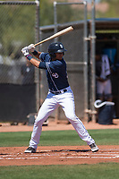 San Diego Padres shortstop Justin Lopez (50) at bat during an Extended Spring Training game against the Colorado Rockies at Peoria Sports Complex on March 30, 2018 in Peoria, Arizona. (Zachary Lucy/Four Seam Images)
