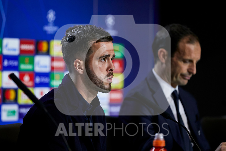 Juventus' player Miralem Pjanic during the Press Conference before UEFA Champions League match between Atletico de Madrid and Juventus at Wanda Metropolitano Stadium in Madrid, Spain. February 19, 2019. (ALTERPHOTOS/A. Perez Meca)