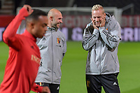 assistent coach Thomas Buffel of Belgium and assistent coach Olivier Deschacht of Belgium pictured before a soccer game between the national teams Under21 Youth teams of Belgium and Denmark on the fourth matday in group I for the qualification for the Under 21 EURO 2023 , on tuesday 12 th of october 2021  in Leuven , Belgium . PHOTO SPORTPIX   STIJN AUDOOREN
