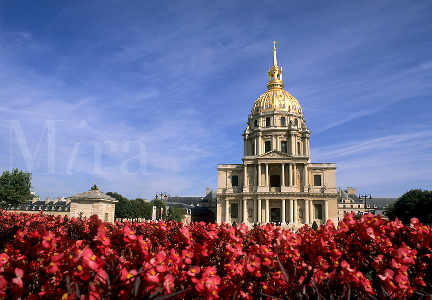 France Famous Hotel des Invalides Dome where Napoleons Tomb resides with flowers in Paris France