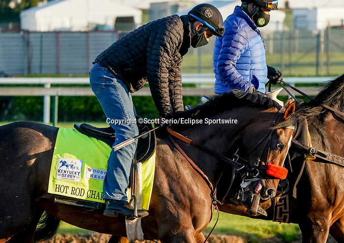 April 26, 2021: Hot Rod Charlie, trained by trainer Doug O'Neill, exercises in preparation for the Kentucky Derby at Churchill Downs on April 26, 2021 in Louisville, Kentucky. Scott Serio/Eclipse Sportswire/CSM
