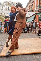 tango street dancers in SanTelmo Buenos Aires Argentina