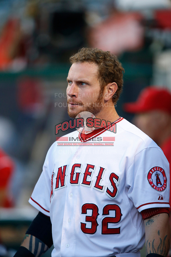 Josh Hamilton #32 of the Los Angeles Angels during a game against the Baltimore Orioles at Angel Stadium on May 2, 2013 in Anaheim, California. Baltimore defeated Los Angeles 5-1. (Larry Goren/Four Seam Images)