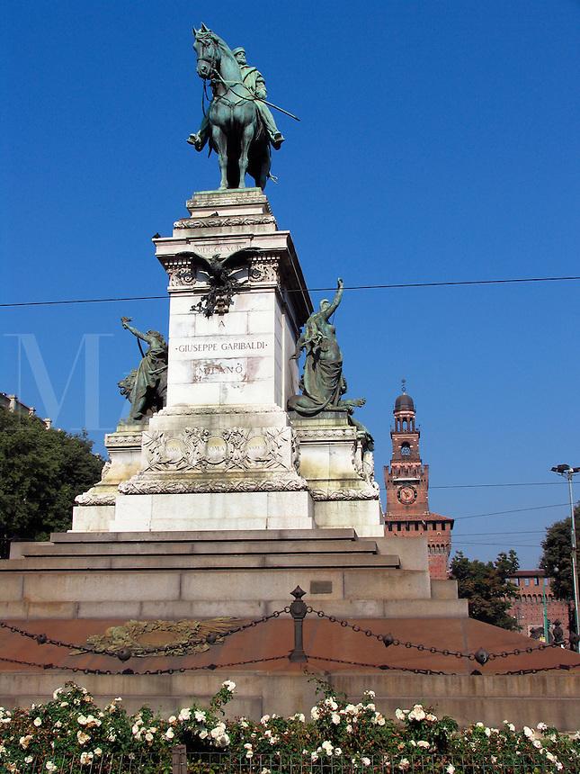 Giuseppe Garibaldi statue and Castello Sforza, Milan, Ital