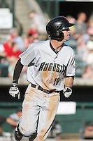Augusta GreenJackets infielder Brandon Bednar #19 at bat during a game against the Charleston RiverDogs at Joseph P. Riley Jr. Ballpark on April 13, 2014 in Charleston, South Carolina. Augusta defeated Charleston 2-1. (Robert Gurganus/Four Seam Images)