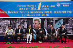 L-R: Zhao Zhiqiang, Ke Guangming, Mission Hills Vice Chairman Tenniel Chu, Tennis legend Boris Becker, Hong Kong Tennis Association President Philip Mok, Joseph Wang at the Press conference for the opening of Boris Becker Tennis Academy at Mission Hills Resort on 19 March 2016, in Shenzhen, China. Photo by Lucas Schifres / Power Sport Images