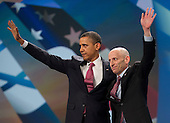 United States President Barack Obama and AIPAC President Lee Rosenberg of Chicago, Illinois wave to the 13,000 assembled delegates following Obama's remarks at the American Israel Public Affairs Committee (AIPAC) Policy Conference in Washington, D.C. on Sunday, March 4, 2012..Credit: Ron Sachs / Pool via CNP