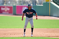 FCL Twins Alexander Pena (13) leading off during a game against the FCL Red Sox on August 7, 2021 at JetBlue Park at Fenway South in Fort Myers, Florida.  (Mike Janes/Four Seam Images)