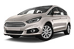 Stock pictures of low aggressive front three quarter view of 2016 Ford S-Max Titanium 5 Door Minivan Low Aggressive