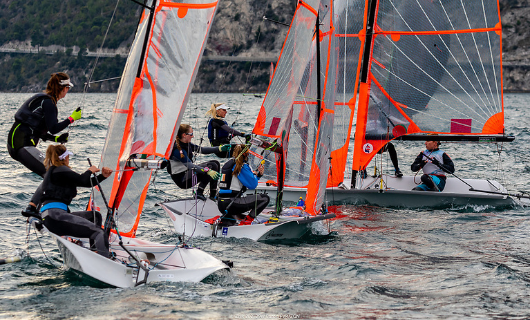 Royal St. George'sEmily and Jessica Riordan (pictured centre on port tack)