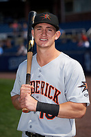 Frederick Keys Austin Hays (18) poses for a photo before the second game of a doubleheader against the Wilmington Blue Rocks on May 14, 2017 at Daniel S. Frawley Stadium in Wilmington, Delaware.  Wilmington defeated Frederick 3-1.  (Mike Janes/Four Seam Images)