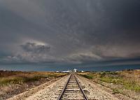 Thunderstorm Above Railroad Tracks & Grain Silo in Goodland, KS, June 15, 2012