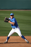 Matt McLain (1) of the UCLA Bruins during a game against the Arizona Wildcats at Jackie Robinson Stadium on March 20, 2021 in Los Angeles, California. Arizona defeated UCLA, 7-3. (Larry Goren/Four Seam Images)